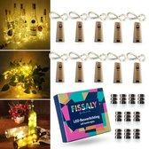 Fissaly® 10 Stuks Led Kurk Flesverlichting Decoratie incl. Batterijen – Feestverlichting & Sfeerlampen- Bottle light Verlichting - Kerstverlichting
