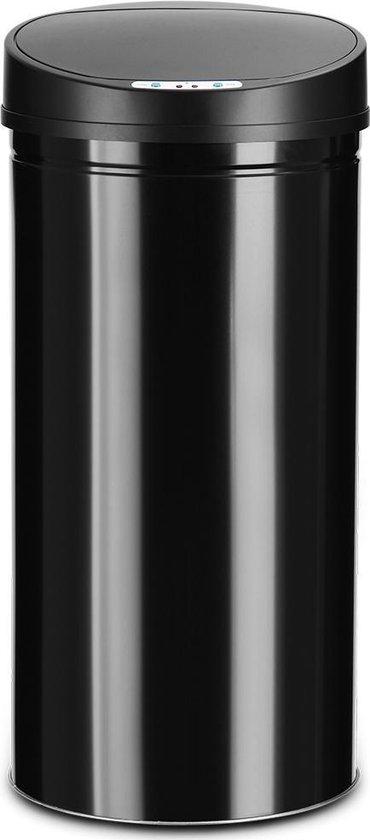 Prullenbak met sensor - RVS - 56 l - Zwart