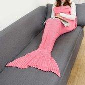 Zeemeermin deken 1.40m x 70 cm  zalm roze