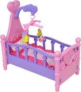 Poppenbed Poppenbedje Poppenwieg - Speelgoed Meisje - Met Accessoires - Roze en Paars