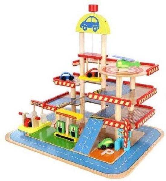Afbeelding van Houten Parkeergarage - Speelgoedgarage - Auto speelgoed - Garage speelgoed - Houten Parkeergarage met Autowasstraat - 4 Verdiepingen speelgoed