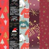 5x Rollen Kerst inpakpapier/cadeaupapier diverse prints 2,5 x 0,7 m volwassenen - Kerstcadeau/kerstkado verpakken/inpakken - Kerstmis pakpapier