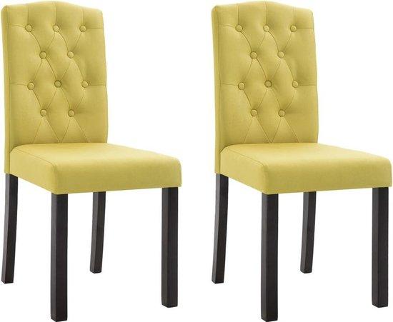 Eetkamerstoelen met Knopen Stof Groen 2 STUKS Eetkamer stoelen Extra stoelen voor huiskamer Dineerstoelen Tafelstoelen Barstoelen