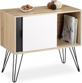 relaxdays dressoir retro design van hout - 60er commode - 4 metalen poten - tv meubel
