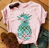 Roze shirt ananas - dames - vrouw - kleding - mode - shirt - korte mouw - Dames T-shirt