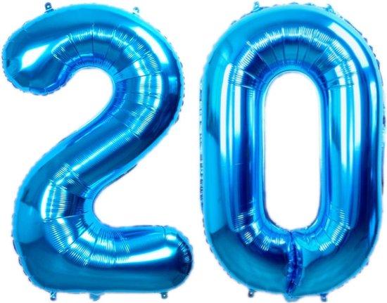 Folie Ballon Cijfer 20 Jaar Blauw 36Cm Verjaardag Folieballon Met Rietje