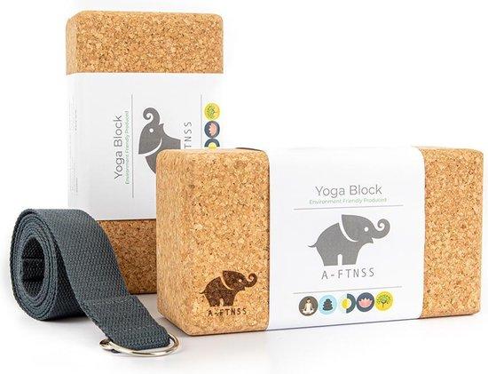 A-FTNSS Yoga Blokken Set Kurk   100% Portugees kurk   2 Kurk Yoga Blokken (22.7x12x7.5 cm) + Gratis Yoga Riem