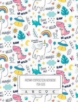 Primary Composition Notebook For Kids: Dotted Midline and Picture Space Cute Unicorn Notebooks For Grades K-2 Composition School Exercise Book - 100 S