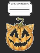 Composition Notebook: HALLOWEEN SCARY PUMPKIN CAT FACE - Composition book: (7,44x9,69) 120pages Graph Paper (5x5) Soft Cover Glossy Finish