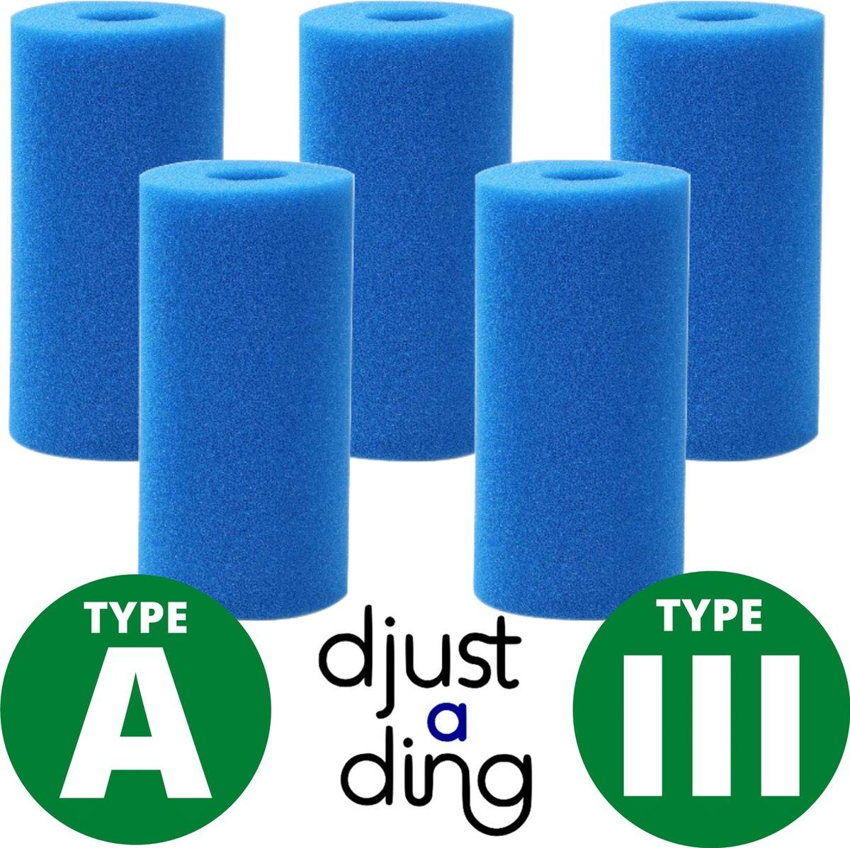 5 x Type A / III Filter Zwembad Herbruikbaar - Geschikt als Zwembadfilter Intex of Bestway - Zwembad Onderhoud Filtercartridge - Djust A Ding