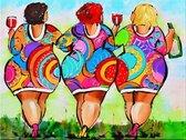 Diamond Painting Volwassenen - Dikke Dames aan de drank – Volledige Bedekking – Hobby Pakket – 30x40 cm