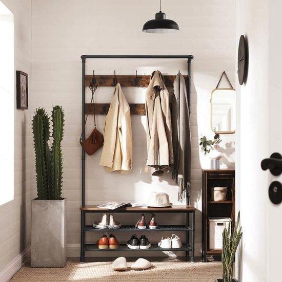 MIRA - XL Garderoberek met kapstok inclusief zitbankje en schoenenrek multifunctioneel met 9 dubbele haken   Vintage   Industrieel
