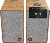 Avlove AVL2 - Hifi Stereo Speaker Set / Luidsprekers - Bluetooth, USB en AUX - Draadloos Opladen Bamboe/Grijs