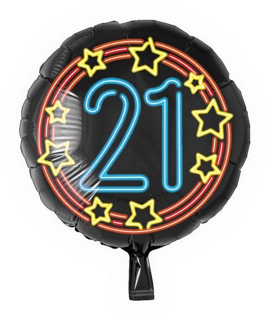 Helium Ballon 21 Jaar Neon 46cm leeg