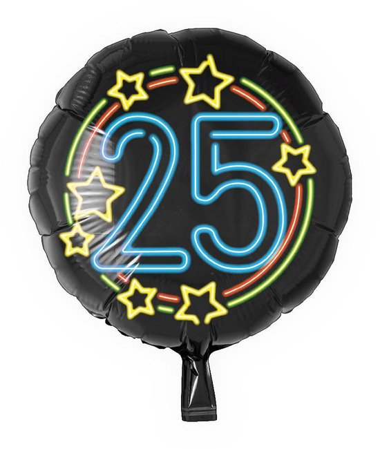 Helium Ballon 25 Jaar Neon 46cm leeg