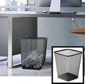 Decopatent® Design Vierkant Prullenbak voor Kantoor - Papierbak - Mesh Metaal - Papiermand - Prullenmand voor onder Bureau - Zwart