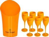 6x Veuve Clicquot champagneglazen + wijnkoeler (oranje)