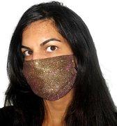 Glitter mondkapje wasbaar | Goud | met katoen | mondmasker | maat S