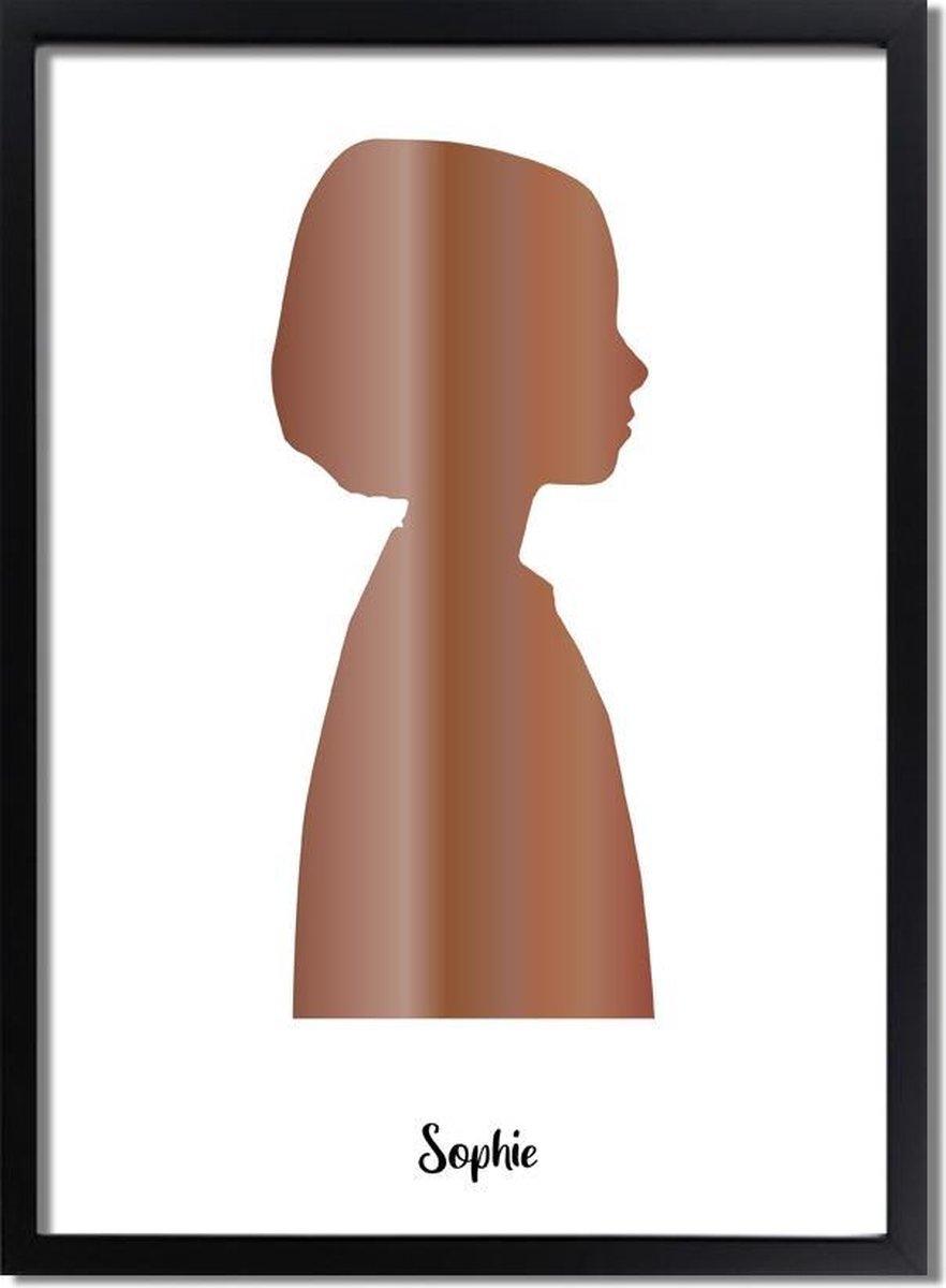 DesignClaud Custom Silhouette Contour poster kind Goud - Zilver - Koper Formaten: A4 + fotolijst wit, Kleur foliedruk: Koperfolie