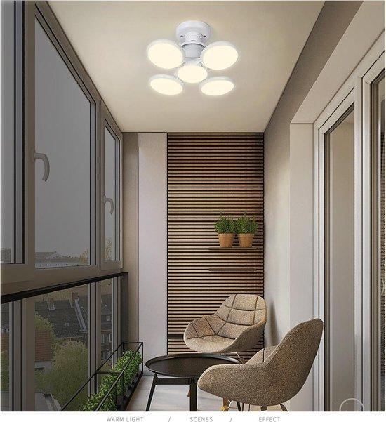 Bol Com E27 Led Plafondlamp Met 5 Lampen Uitvouwbaar Koud Licht 40 Watt Slaapkamer Woonkamer