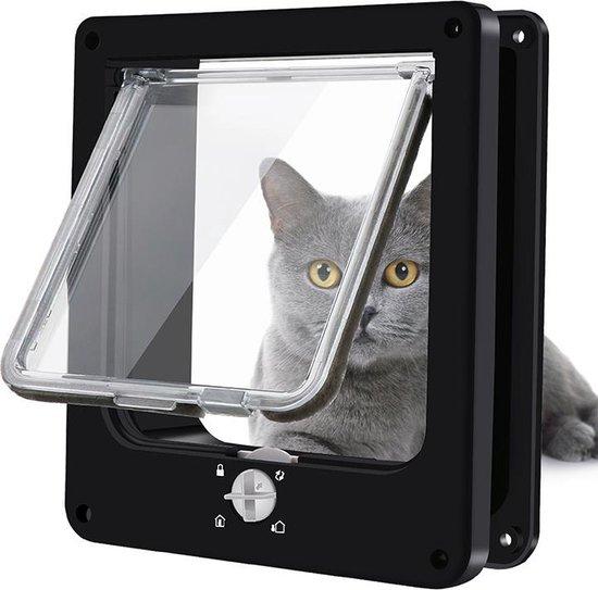 Pet Select Kattenluik Zwart met Tunnel – 4 Vergrendelingsstanden – Weerbestendig - Maat L