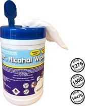 100xalcohol wipes groot 14x20 - 80%Alcohol doekjes 100 stuks - Desinfectie doekje Reinigingsdoekjes voor oppervlakte en handen  - alcohol Brillendoekjes - Schoonmaak - IN HANDIGE POT -BSEN1276 / BSEN1500 / BSEN14476