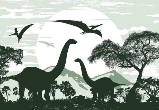Fotobehang Dinosaurus XXL - Brontosaurus - 368cm x 254 cm - groen
