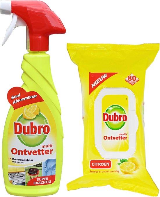 Dubro multi ontvetter spray 650ml + multi ontvetter doekjes 80 stuks