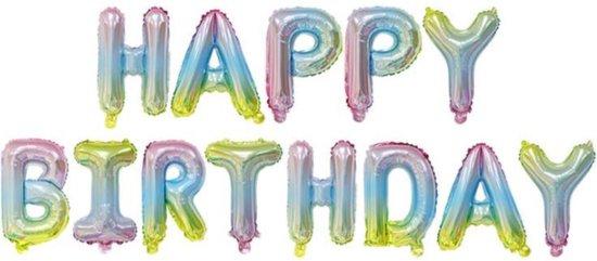 Happy Birthday Slinger Feestversiering Regenboog Folieballon Decoratie