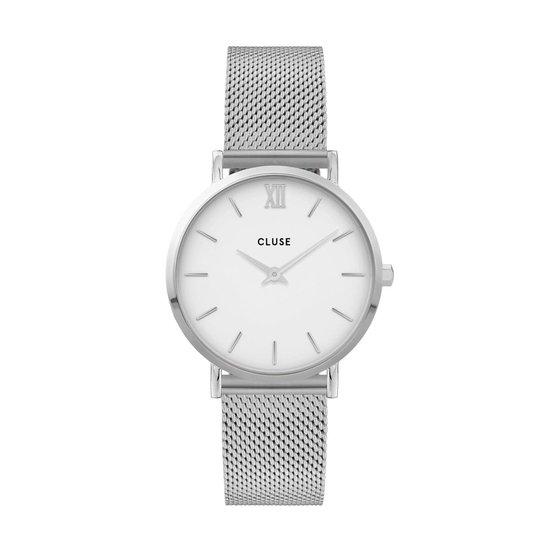 Cluse Minuit Mesh White, Silver Colour