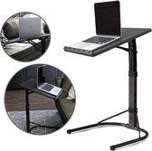 QUVIO Inklapbare bijzettafel voor laptop / In hoogte verstelbaar / Inklapbaar / Laptopstandaard / Laptoptafeltje / Makkelijk aan te schuiven bij de bank - Grijs