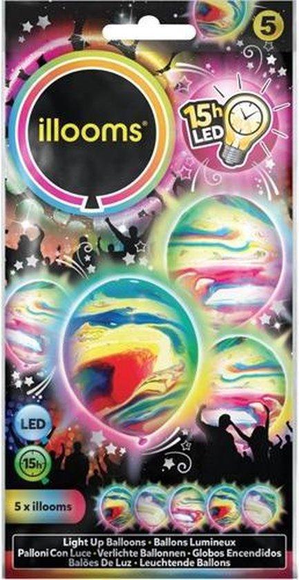 Illooms Ballonnen Marble met LED Licht 5 Stuks