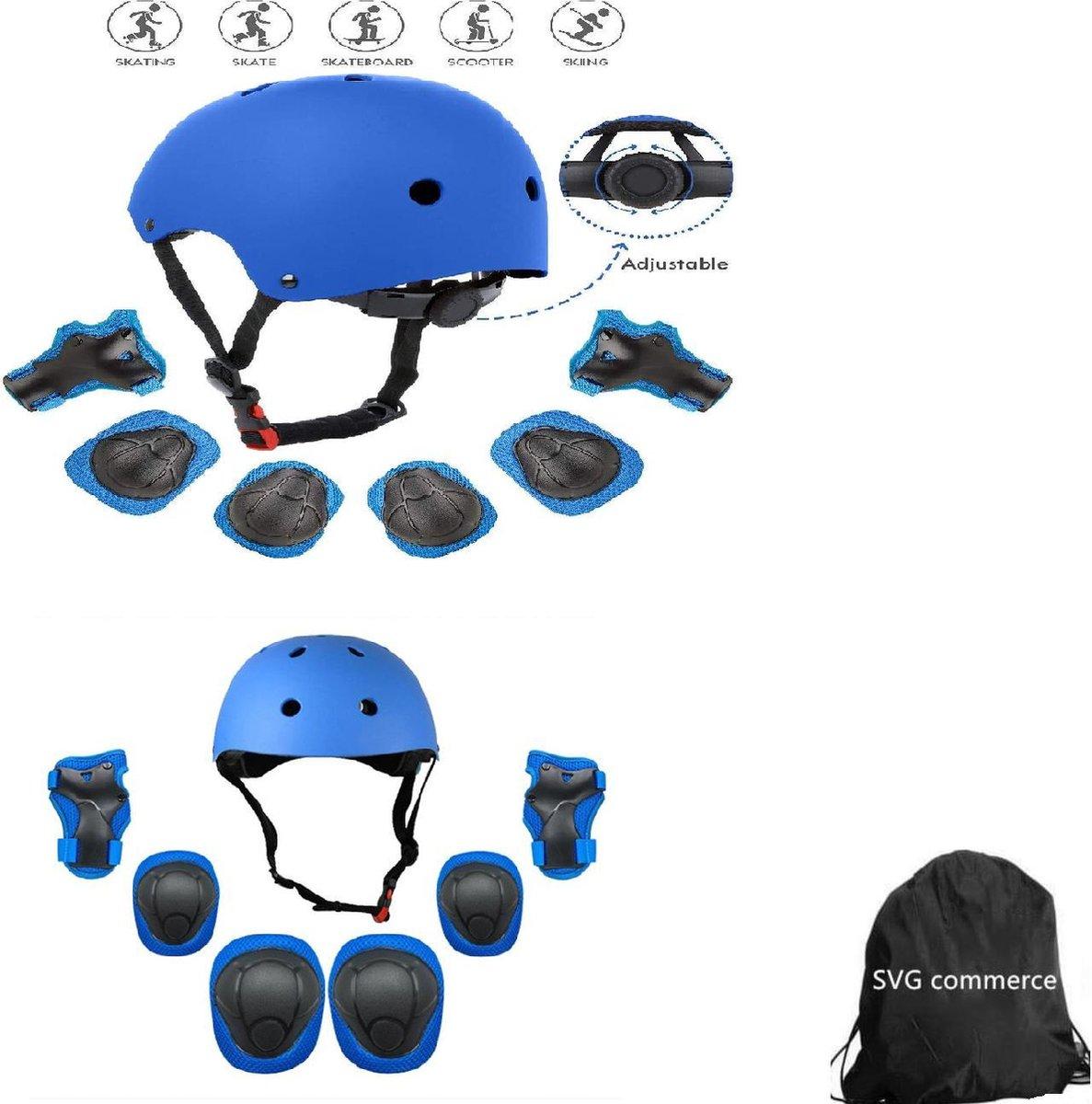 Skate Beschermset Kinderen - Helm - Kniebeschermers - Blauw S +tas voor jongens en meisjes