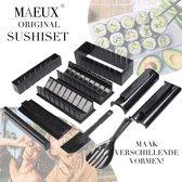 MAEUX® 13-delige Sushi maak Set - Inclusief 2 Paar Eetstokjes - Sushi maker  - Verschillende vormen - Sushi kit - Sushi maken - Sushi set - Sushi vorm - Sushi Bazooka - Meerdelige sushiset - Sushi making set - Sushi mal - Sushi roller