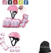 Skate Beschermset Kinderen - Helm - Kniebeschermers - Roze S +tas voor jongens en meisjes
