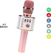 Bluetooth Karaoke Microfoon set-HiFi Speaker Box/Recorder-Draadloos- Ondersteund Android/iPhone/Apple /Spotify/Youtube 3-staps ruisfilter-Echo effect-3 in 1-Rose Gold-Stemvervormer