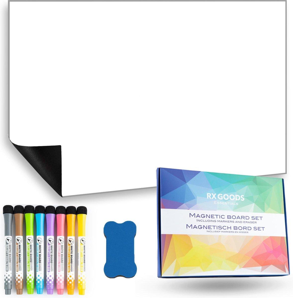 RX Goods® Magnetische Whiteboard Koelkast Set met 8 Markers & Wisser - Memobord, Planbord, Schrijfbord & to do planner