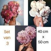 """Schilderen op Nummer -  Set van 3 schilderijen 40x50 cm – Serie """"Bloemenmeisjes"""" – Compleet Hobbypakket – Verven op Nummer – Voor volwassenen en kinderen – Paint by Number – """"Flowergirls"""""""