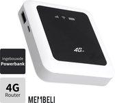 4g Mifi Draadloze Router met Powerbank - Wit/Zwart