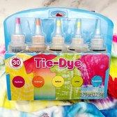 TIE DYE - DIY 5 Kleuren - Complete verfset voor je kleding en textiel - Regenboogkleuren - Hoogwaardige kwaliteit - Kindvriendelijk - Incl. handschoenen en elastiekjes - DIY - Levendige Kleuren - Kleuren in de beschrijving - Gratis Verzending