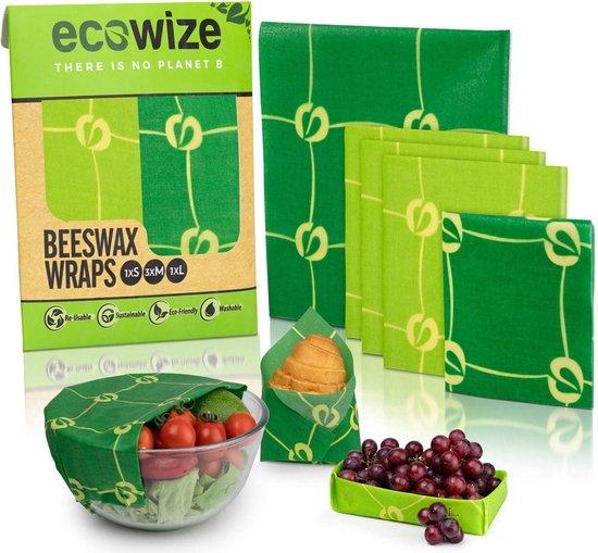 Bijenwas Wraps (Bijenwas Doek) - Set van 5 - 1S, 3M, 1L - Beeswax Wraps - Bee Wrap - Beewax - Bijenwasdoek - Zero Waste - Duurzaam Cadeau - Herbruikbaar Boterhamzakje