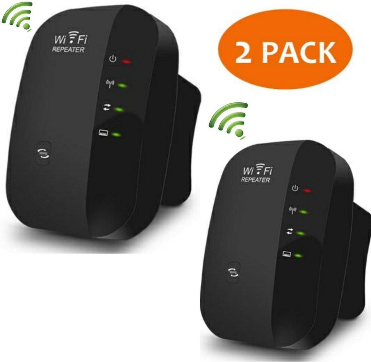 Wifi repeater - Versterker - Signaal versterker - Duo pack 2 stuks draadloos internet 300 MBPs - 2.4 GHz - Zwart kopen