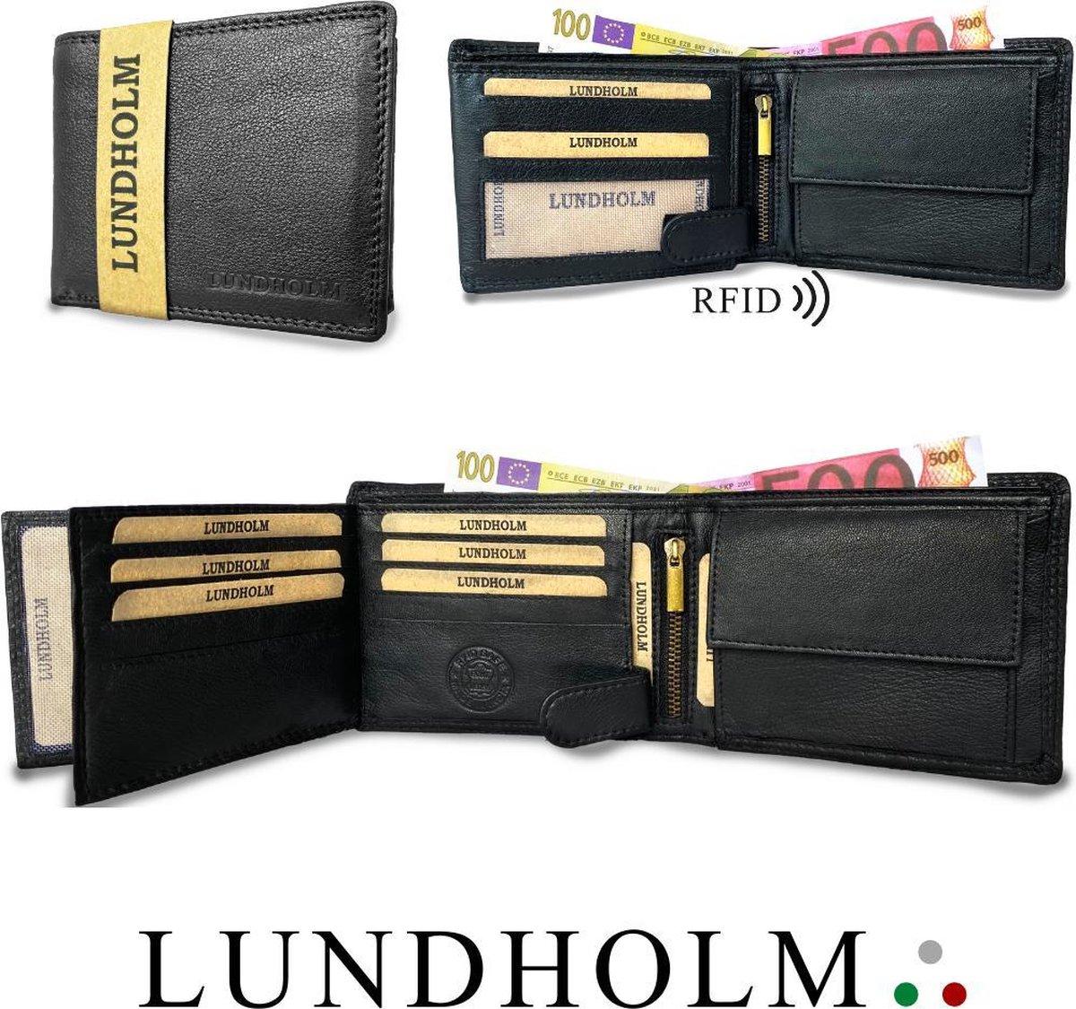 Lundholm leren heren portemonnee heren leer zwart - RFID anti-skim - zeer soepel nappa leer