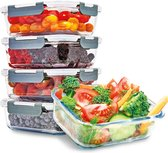 KitchenBrothers Meal Prep Bakjes - 5 Stuks - Luchtdichte Deksel - BPA vrij - 1 Liter - Glas