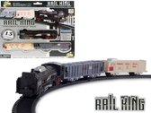 Speelgoed Trein set 13 stuks - Rail Baan 68x68 - met licht en kan rijden - Rail King  (incl. batterijen)