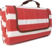 Picknick kleed - met handvat - rood - wit gestreept - picknickdoek - stranddoek - festivaldoek - waterdicht - 130x150 cm - plaid - picknickkleed - outdoor