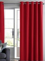Home of Curtains RUBEN - Gordijn - Met Ringen - Verduisterend - 288x180 cm - Rood - 1 Stuk