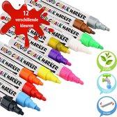 Krijtstiften - Raamstiften - Krijtmarkers - Geschikt om in je haar te gebruiken - Set van 12 kleuren - Stiften - Markers - 6mm reversible tip - Waterbasis - Makkelijk weg te vegen - Raamtekenstiften - Glasstiften - Porselein - Kleuren - Tekenen