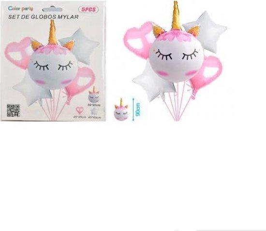 Ballonnen 5 stuks/XL/ Unicorn/Hartjes/Sterren/Wit/Roze/59x90cm/ 45x45/Goede/Kwaliteit/Kinderfeest/Verjaardag/Babyshower