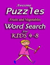 Awesome Puzzles Fruits & Vegetables Word Search For Kids 4-8